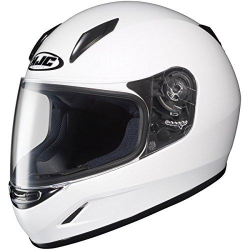 HJC Solid Youth Boys CL-Y Sportsbike Motorcycle Helmet - White / Medium