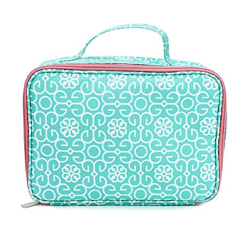 Mint Green Damask Medallion 10.5 x 7 Water Resistant Soft Cooler Insulated Lunch Bag Tote
