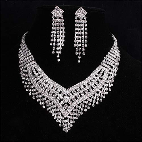 Santfe Wedding Bridal Rhinestone Jewelry Set Silver Crystal Bib Choker Necklace Earring(Style (Crystal Rhinestone Bib Necklace)