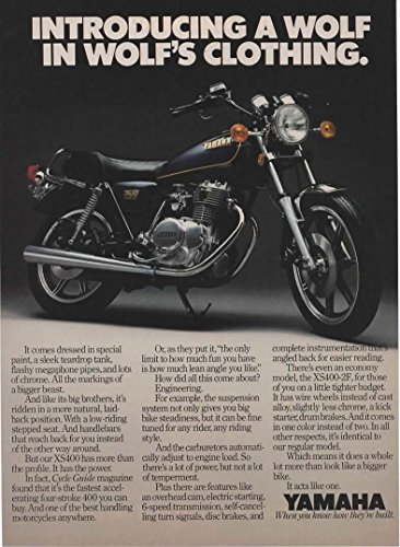 "Magazine Print Ad: 1979 Yamaha XS400, XS400-2F Motorcycle, ""Introducing a Wolf in Wolf"