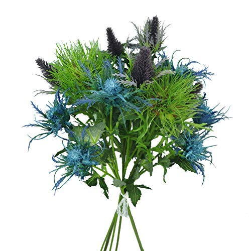(Lily Garden 6 Long Stems Artificial Eryngo Thistles Bunch of Flowers Plants for Home Decor Centerpieces (Mix))