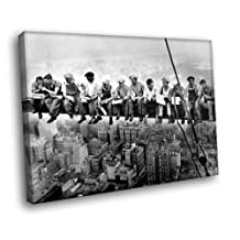 H5D5666 Lunch Atop Skyscraper BW Retro Vintage 20x16 FRAMED CANVAS PRINT