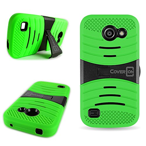 Huawei Tribute / Fusion 3 Heavy Duty Phone Case with Kickstand (Neon Green / Black) | CoverON (Titan Armor) Hybrid Cover Series | Soft Shock Absorbing Outer Silicone Skin + Hard Plastic Inner Shell Protector for Huawei Tribute / Fusion 3 (Y536A1) (Y536a1 Huawei Covers Phone For)