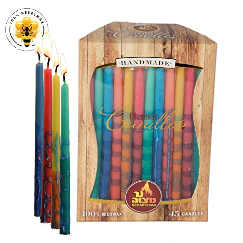 Beeswax Chanukah Candles - Standard Size Candle Fits Most Menorahs - Premium Quality Pure Bees Wax - Assorted Colors - 45 Count For All 8 Nights of Hanukkah - by Ner Mitzvah (Classic Menorah)