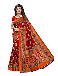 Shonaya Women Party Wear Red Colour Bhagalpuri Silk Printed Saree