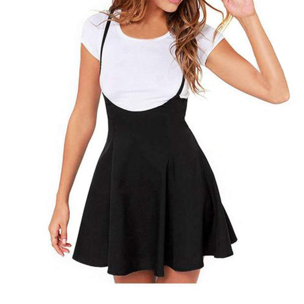 Pongfunsy Women Sling Pleated Dress Women Sommer Dress Fashion Black Skirt with Shoulder Straps Casual Dress 2019 New (L, Black)