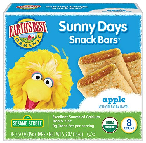 Earth's Best Organic Sesame Street Sunny Day Toddler Snack Bars with Cereal Crust, Apple, 8 Count Box (Pack of 6) (Organic Apple Bar)