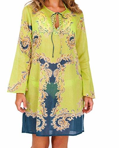 Damen 100 Baumwolle barocken PrintDesigner inspiriert langärmelige ...