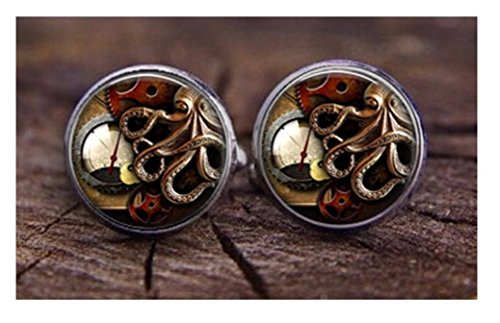 Steampunk   Clock Gears Octopus   Mens Cufflinks Cuff Links   Groomsmen Wedding Squid Watch Octo
