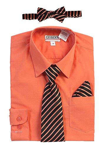 Gioberti Boy's Long Sleeve Dress Shirt and Stripe Zippered Tie Set, Coral, Size - Long Cotton Zippered Sleeve