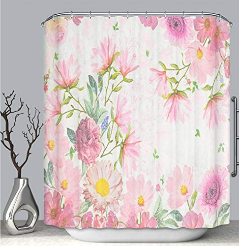 BEICICI Color Shower Curtain Liner Anti-Mildew Antibacterial, Photo of a decoupage Decorated Flower Pattern_ Multi-Color,Custom Shower Curtain Bathtub Bathroom Accessories.