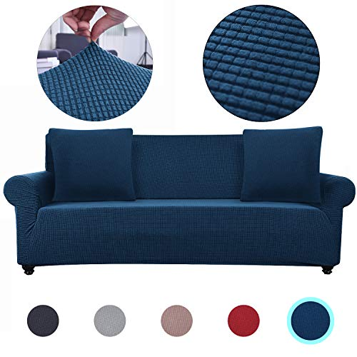 Lumibee Stretchable Sofa Slipcover 1-Piece with 2 Pillow Covers Chair Couch Furniture Protector Soft with Elastic Bottom Anti-Slip Foam Great for Pets, Spandex Jacquard Fabric (Navy, 3 Seater) (Slipcover For Pillows Couch With)