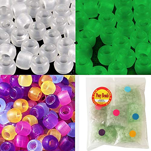 600 pcs UV Beads Color Assortment Changing UV Reactive Plastic Pony Beads, Glows in The Dark, Fun for Jewelry/Bracelets Making(6 Colors, Each Color Separate Packing in a Bag)