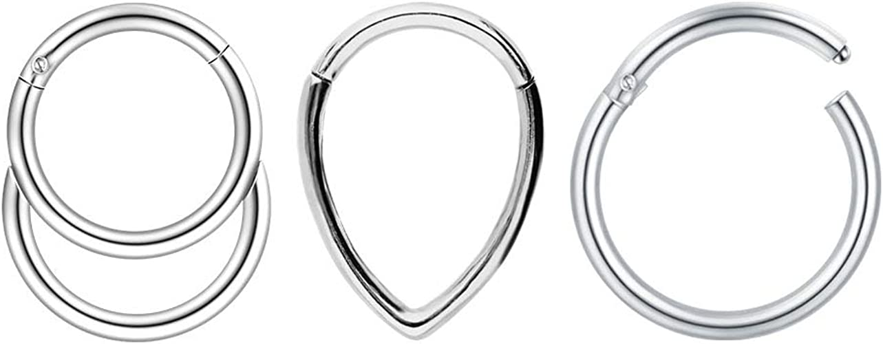 100/% Surgical Steel Septum Clicker Ear Cartilage Helix Daith Hoop Nose Ring Hinged Faux Opal 14 16G