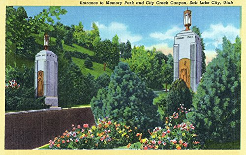 Salt Lake City, Utah - Entrance View to Memory Park, City Creek Canyon (12x18 SIGNED Print Master Art Print w/ Certificate of Authenticity - Wall Decor Travel - Salt Lake Creek City City