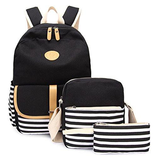 LLygezze Lightweight Canvas School Backpack Set Laptop Bag Daypack for Teen (Black)