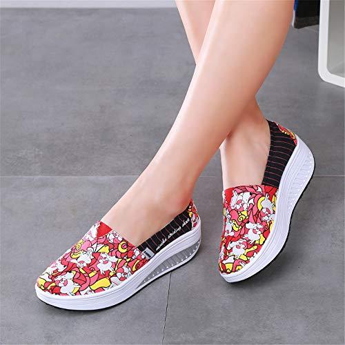 Profunda Zapatos de Color Rojo Rojo FangYOU1314 Mujer 1 3 la Zapatos EU Casuales Suaves Zapatos 37 Bajos Poco Boca tamaño de Op84Yp6g