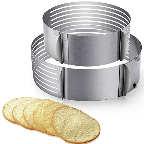 2pcs Adjustable Layer Cake Slicer 9-12 and 6-8 Stainless Steel Multi Layered Ring Circular Cutter Baking Tool Kit Mousse Mould for Women Wedding Christmas Mothers Day Gift (Cake Slicer)