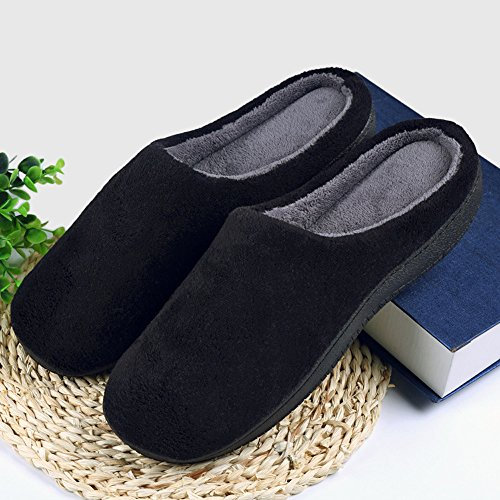 Cideros Womens & Mens Inverno Caldo Corallo Pile Casa Pantofole Accogliente Camera Da Letto Scarpe Calzature Memory Foam Zoccoli Nero