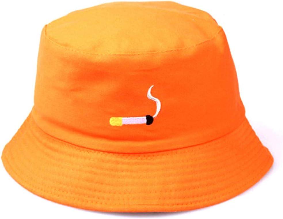 MAOZIJIE No Chill Cigarette Bordado Pescador Sombrero Hip Hop Amantes Sombrero Plano para Hombres Mujeres Negro Color Naranja