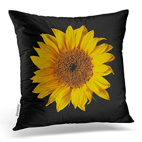 Emvency Throw Pillow Covers Sunflower Yellow On Black Sun Flowers Decor Pillowcases Polyester 16 X 16 Inch Square Hidden Zipper Home Cushion Decorative Pillowcase (Cases Pillow Sunflower)