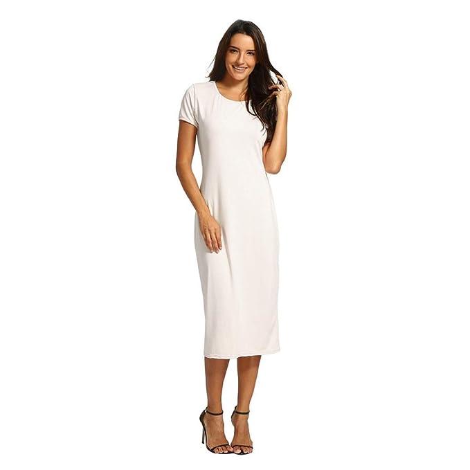 956b1484215f OldSch001® Ladies Dress Causal White Short O-Collar Mid-Calf Straight Dress  (