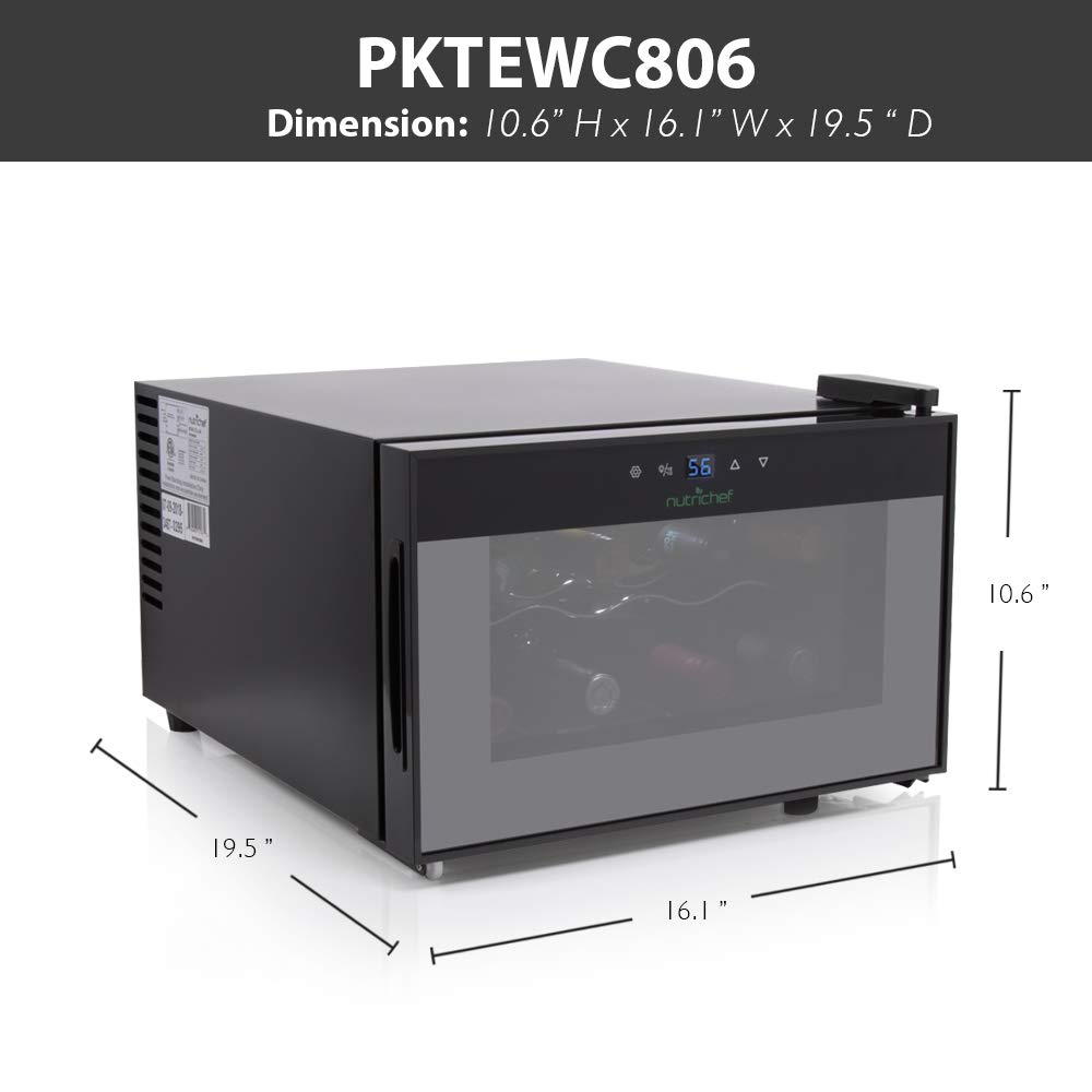 NutriChef PKTEWC806 8 Bottle Thermoelectric Red And White Wine Cooler/Chiller, Counter Top Wine Cellar with Digital Control, Freestanding Refrigerator, Smoked Glass Door, Quiet Operation Fridge, Black by NutriChef (Image #3)