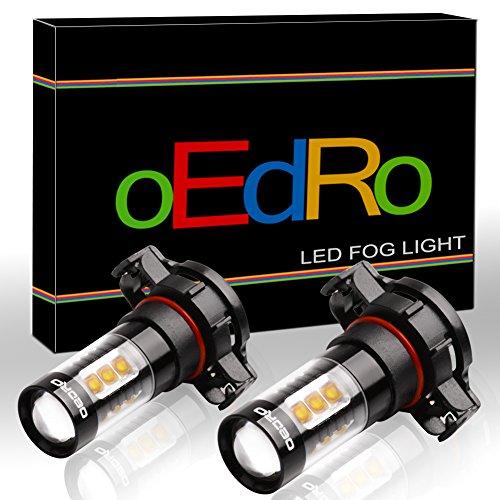 oEdRo 80W H16 LED Fog Lights Bulbs Projection, 6000k Xenon White 5201 5202 PS24WFF LED Daytime Running Light, Pack of 2 (H16 Blue Fog Light Bulb)
