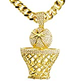 NEW Men's 14K Gold & Silver Plated Iced Out Basketball Hoop Pendant 30' Heavy Cuban Chain Necklace HC 6034 (Gold)