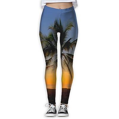 SESY Coconut Palm Tree Yoga Sweatpants Women's Fitness Power Flex Leggings Pants