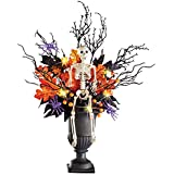 Collections Etc Lighted Halloween Skeleton in Spooky Foliage with Spiders, Indoor Tabletop Décor, Centerpiece