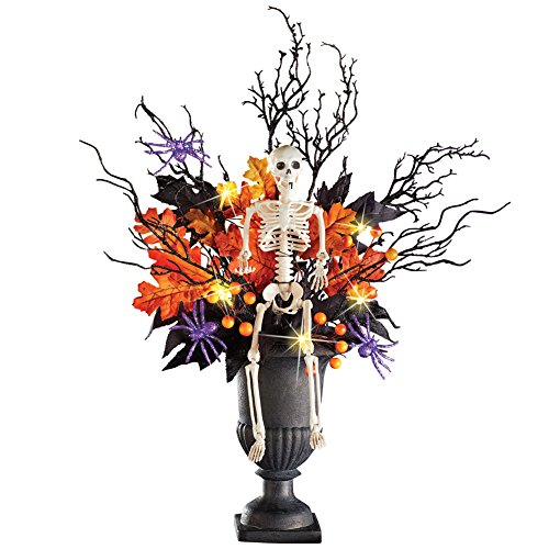 Halloween Bouquet - Collections Etc Lighted Halloween Skeleton in Spooky Foliage with Spiders, Indoor Tabletop Décor, Centerpiece