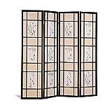 Coaster Oriental Floral Accented 4-Panel Room Screen Divider, Black Wood Framed