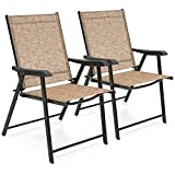 Best Choice Products Set of 2 Outdoor Patio Folding Sling Back Chairs (Brown)