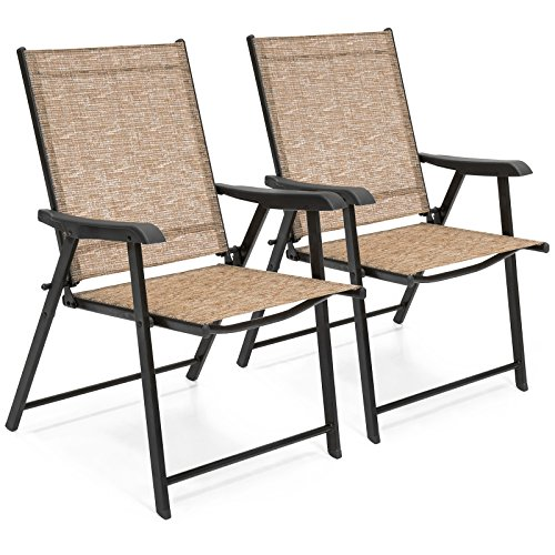 Best Choice Products Set of 2 Outdoor Patio Folding Sling Back Chairs (Brown) (Sling Back Folding)