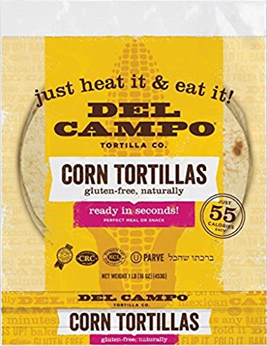 Del Campo Soft Corn Tortillas - 6 Inch Round 1 Lb. Bag. 100% Natural, Gluten Free and All-Corn Authentic Mexican Food. Many Serving Options: Wraps, Tacos, Quesadillas or Burritos, Kosher. (16ct.)