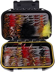 menolana 120pcs Wet/Dry Fly Fishing Flies with Artificial Feather Wings Flies Baits