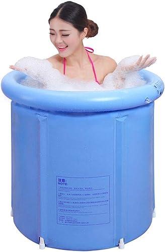 Portable Plastic Bathtub Big, Japanese Soaking Bath Tub for Shower Stall, Inflatable Flexible Adult Size Foldable Blue