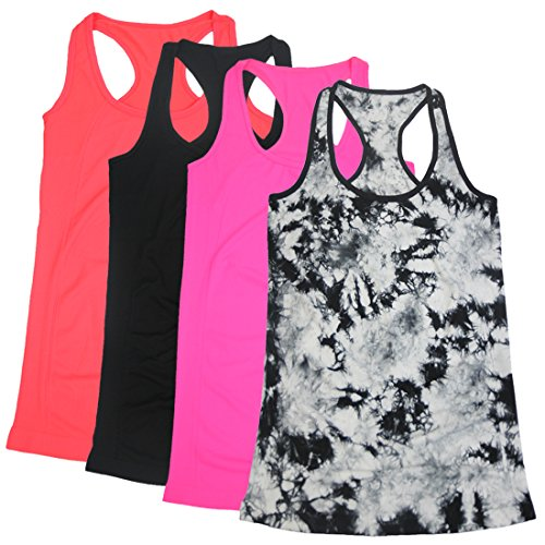 BollyQueena Womens Tank Tops, Women's 4 Packs Long Camisoles Tank Tops for Juniors Crop Tops XL