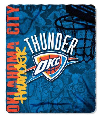 fan products of NBA Oklahoma City Thunder Hard Knocks Printed Fleece Throw, Blue, 50