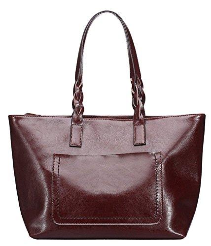 Susanm New Womens Oil Wax Leather Handbag Top Handle Bags...
