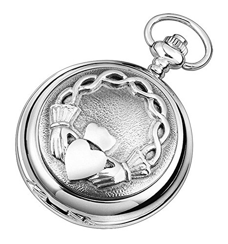 Woodford Mens Claddagh Skeleton Chain Pocket Watch - Silver