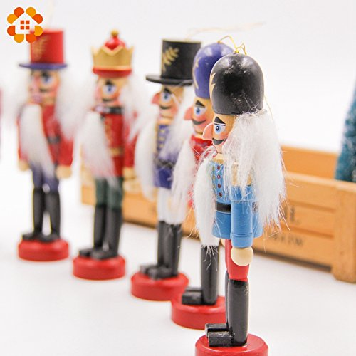 Home Decor 50ct Christmas Ornaments 6pcs Nutcracker Puppet Zakka Creative Desktop Decoration 12cm Wood Made Christmas Ornaments Drawing Walnuts Soldiers, Band Dolls