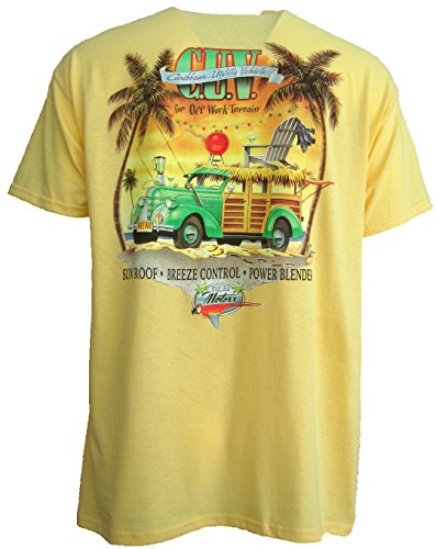 Good Life Mens 100% Cotton T-Shirt Short Sleeve Hawaiian Beach Scenery (Medium, Yellow Haze C.U.V.)