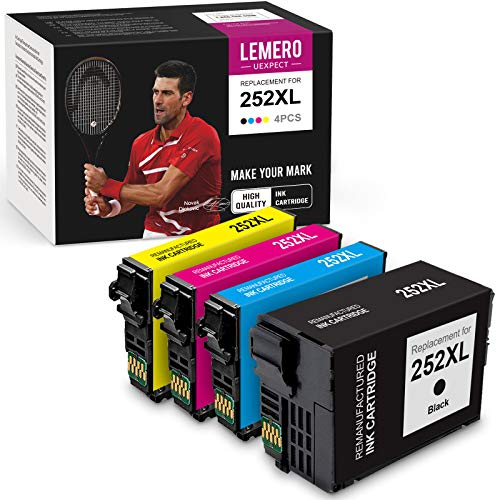 LemeroUexpect Remanufactured Ink Cartridge Replacement for Epson 252XL 252 XL T252XL for Workforce WF-7710 WF-7720 WF-7210 WF-3640 WF-3620 Printer (Black Cyan Magenta Yellow, 4-Pack)