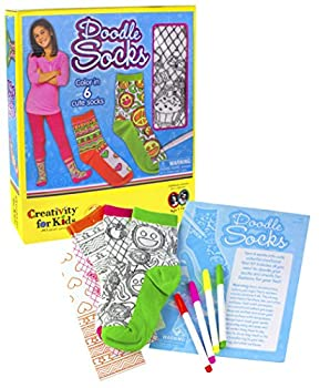 Creativity For Kids Doodle Socks – 3 Pairs Of Socks To Color – Teaches Beneficial Skills – On Size Fits Most – For Ages 7 & Up 0