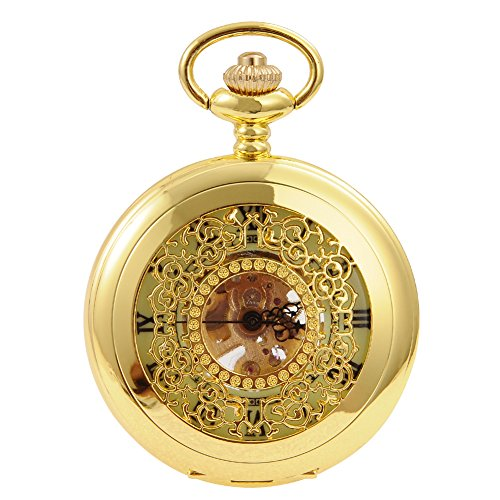 Gold Roman Numeral Pocket Watch (Cool Mens Roman Numeral Steampunk Automatic Mechanical Gold Pocket Watch)