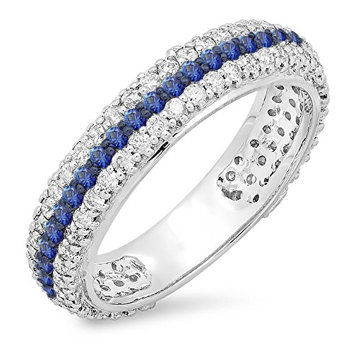 14K White Gold Round Blue Sapphire & Diamond Ladies Pave Set Wedding Eternity Ring Band (Size 8)