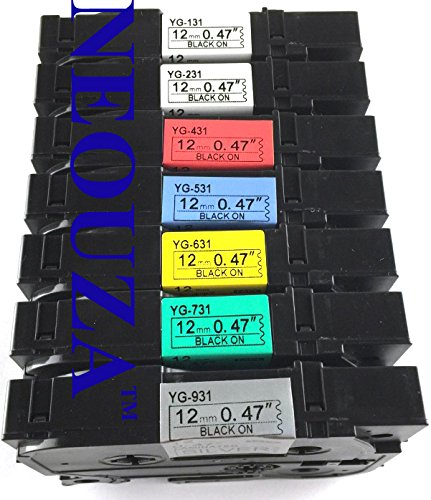 """NEOUZA Compatible for Brother P-touch TZ TZe Tape Label Combo Set 7 Packs TZe TZ131 TZ231 TZ431 TZ531 TZ631 TZ731 TZ931 12mm x 8m 0.47"""" x 26.2'"""