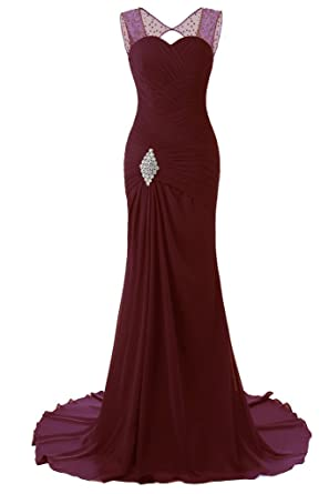 JYDress Womens Beading Chiffon Evening Dresses 2017 Sweep Train Prom Gown
